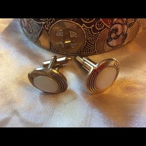 Other - Vintage Mother of Pearl Shell Gold Cuff Links 1950